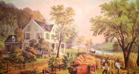 Vintage Currier & Ives Reprint of The Farmer's Home Harvest