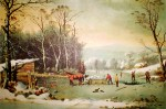 Currier and Ives Lithograph – Winter in the Country, Getting Ice