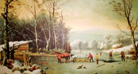 Currier & Ives Reprint of Winter in the Country, Getting Ice
