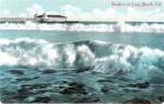 Vintage California Postcard of Long Beach Breakers and Pier