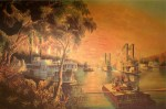 Currier and Ives Lithograph - The Mississippi in Time of Peace