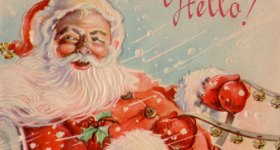 Santa's Sleigh Ride Vintage Postcard