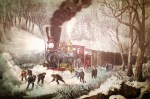 Currier and Ives Lithograph – American Railroad Scene – Snow Bound