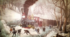 Currier and Ives Lithograph - American Railroad Scene - Snow Bound