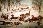 Currier and Ives Lithograph – A Spill Out on the Snow