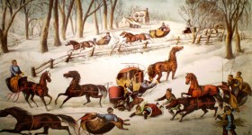 Vintage Currier and Ives Lithograph - A Spill Out on the Snow