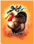 Thanksgiving Turkey Wishbone Vintage Postcard
