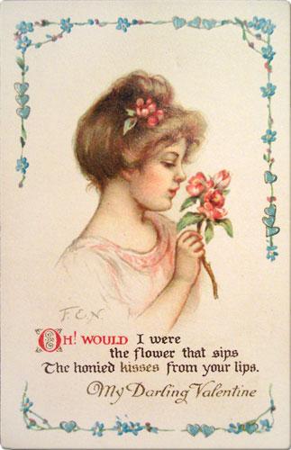 Vintage Valentines Day Postcard With Love Poem
