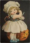Girl Carving Apple Vintage Halloween Postcard