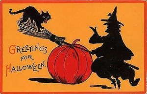 Retro Witch and Cat Seesaw on Broom and Pumpkin. Sam Gabriel Halloween Series 122-4.