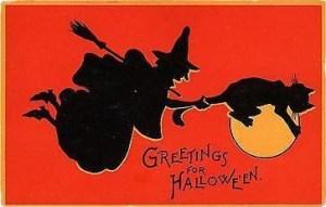 Retro Witch Cat 1912 Postcard. Sam Gabriel Halloween Series 122-5.