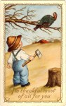The Boy and the Turkey Vintage Thanksgiving Postcard