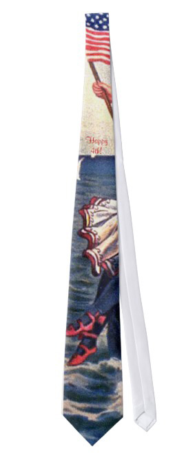 Neck tie showing a peek of a vintage girl's hand waving an American flag and her patriotic skirt and shoes below, in front of the ocean. Red, white and blue colors.