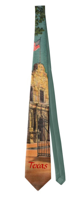 Vintage Texas neck tie featuring The Alamo.