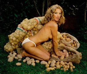 Barbara Bouchet with stacks of potatoes