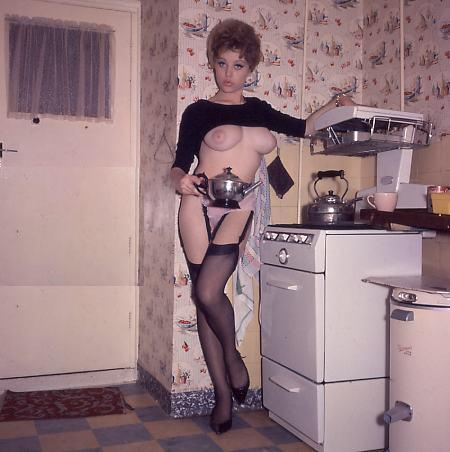 Vintage nude in the Kitchen