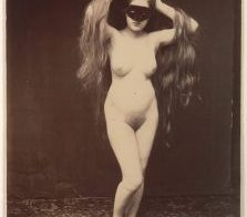 French Postcard masked girl