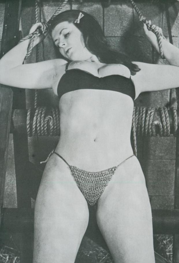 Vintage chubby model in bondage