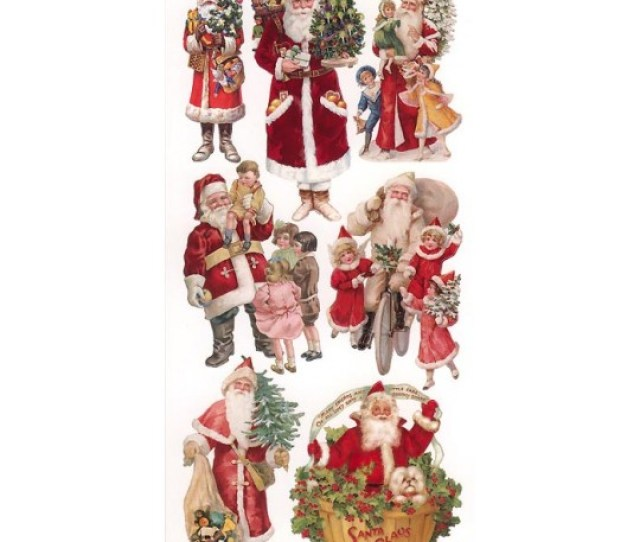 Sheet Of Stickers Victorian Santa And Children