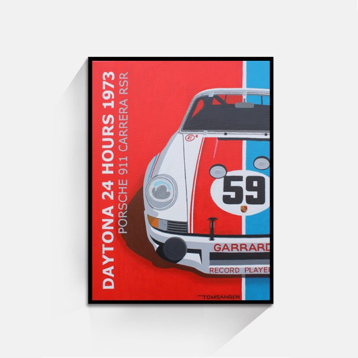 Porsche 911 RSR Daytona 1973 Origineel 60x80 zwarte lijst