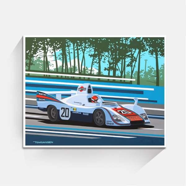 Porsche 936 LeMans 1976 Origineel 90x70 witte lijst