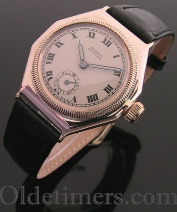 1920s rare, early 9ct rose gold vintage Rolex Oyster watch