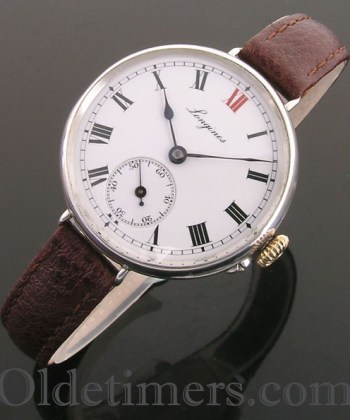 1913 silver vintage Longines 'Officers' watch