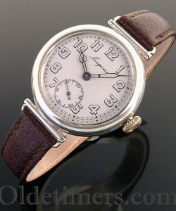 1918 silver vintage Longines 'Officers' watch (3734)