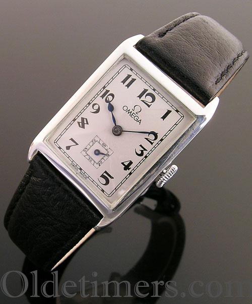 1920s silver rectangular vintage Omega watch