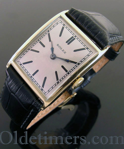 1920s 18ct gold large rectangular vintage Rolex watch (3608)