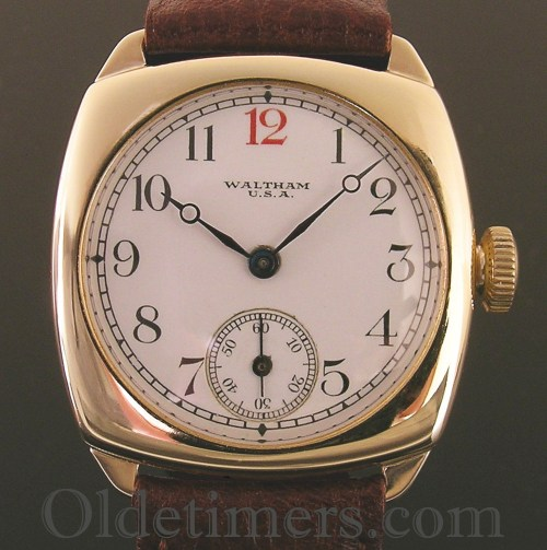 1930s 9ct gold cushion vintage Waltham watch (3402)