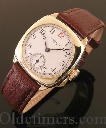 1930s 9ct gold cushion vintage Waltham watch (3402)