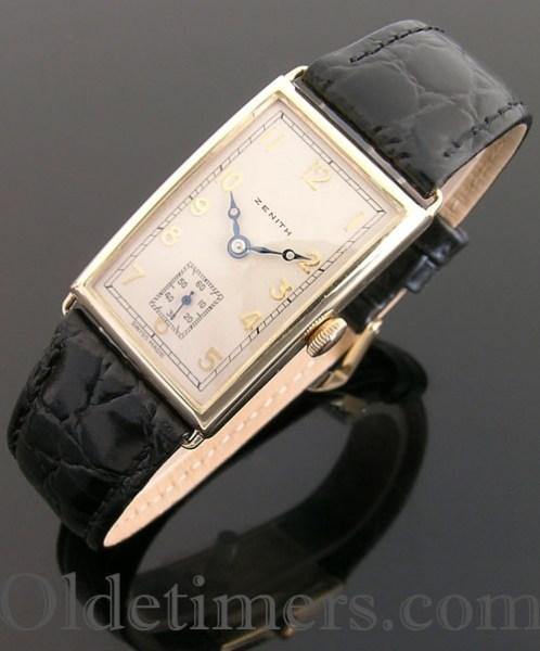 1930s 9ct gold rectangular vintage Zenith watch (3686)