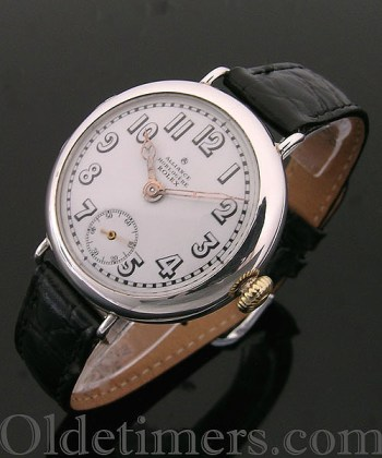 1910 rare early round silver vintage Rolex watch