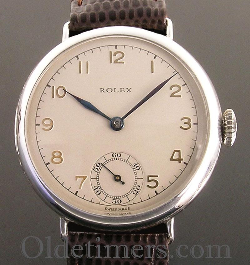 1920s silver round vintage rolex watch olde timers