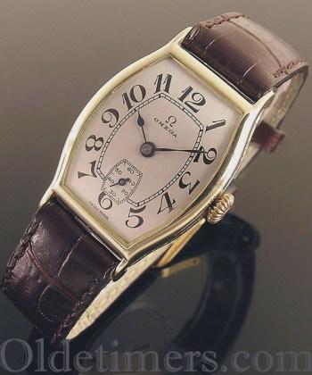 1920s 14ct gold tonneau vintage Omega watch