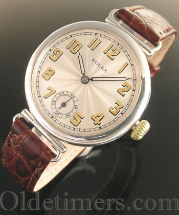 1920s early round silver vintage Rolex 'Officers' watch