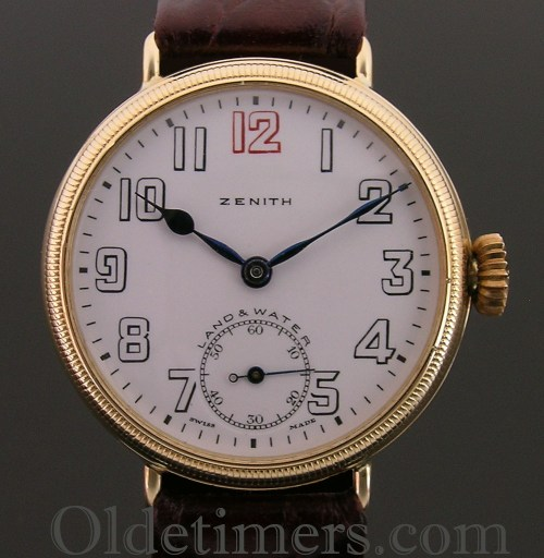 1920s 18ct gold vintage Zenith 'Land & Water' watch (3150)