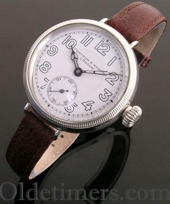1915 silver round vintage Fortnum & Mason 'Officers' watch