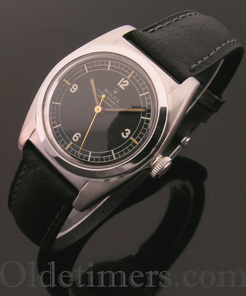 1940s steel vintage Rolex 'Bubbleback' watch (3898)