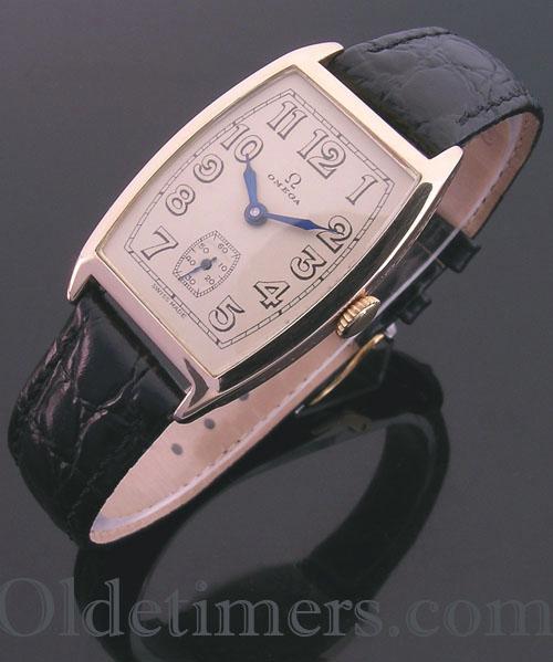 1920s 14ct rose gold tonneau vintage Omega watch (3907)