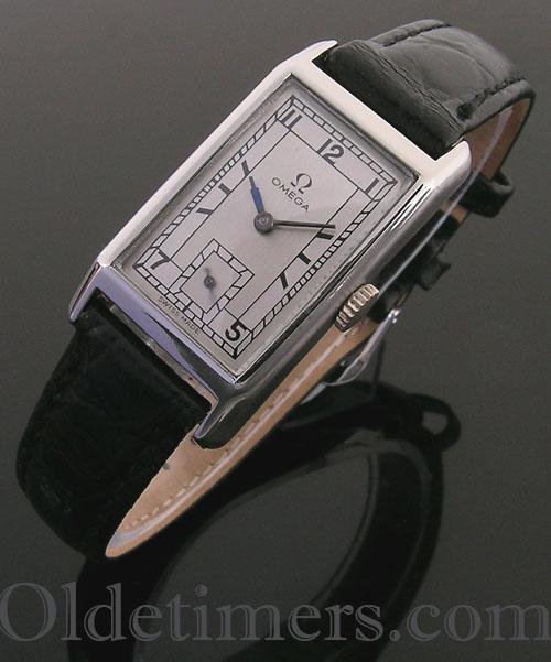 1930s steel rectangular vintage Omega watch (3941)