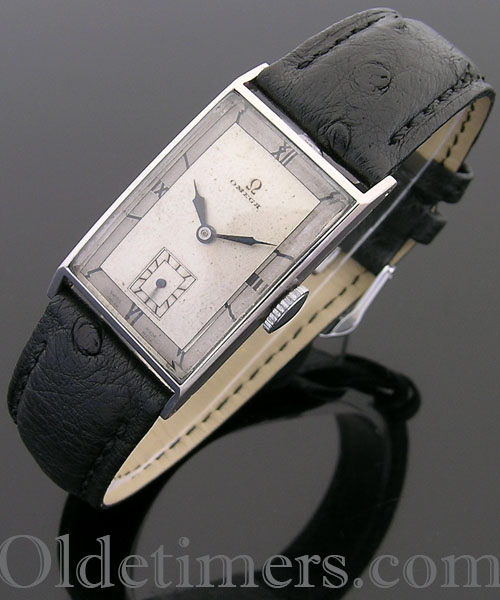 1930s steel rectangular vintage Omega watch ()