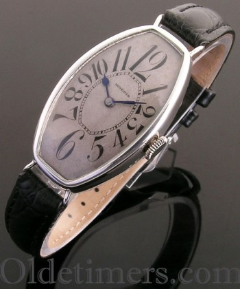 1920s silver tonneau vintage Moeris watch