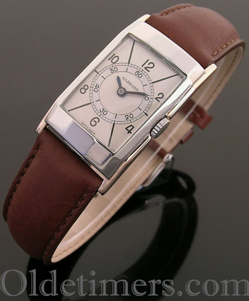 1940s gold & steel rectangular vintage Garrards watch (3792)
