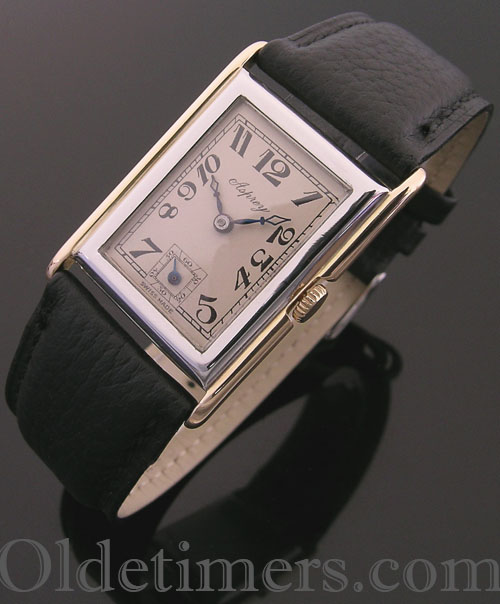 1930s 18ct two colour gold rectangular vintage Asprey watch (3920)