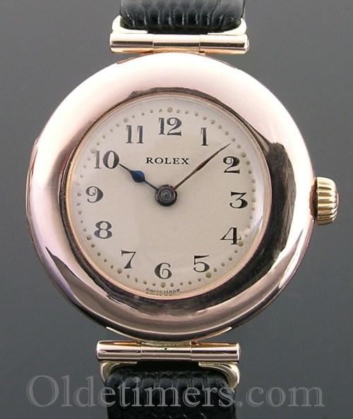 1919 9ct rose gold round ladies vintage Rolex watch