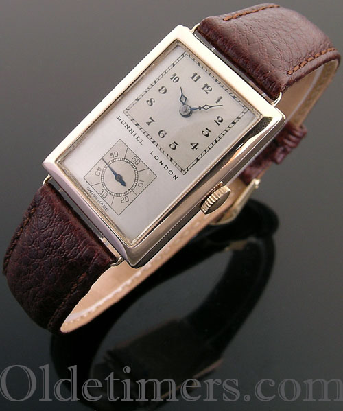 1930s 9ct rose gold rectangular vintage Dunhill 'Doctors' watch