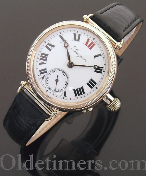 1919 9ct gold  'Borgel' Longines 'Officers' watch (3949)