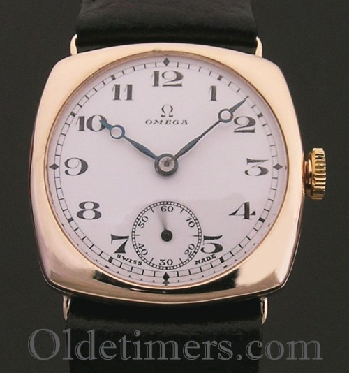 1920s 9ct gold cushion vintage Omega watch